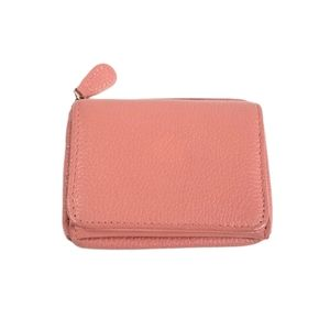 Pink Leather RFID Trifold Wallet